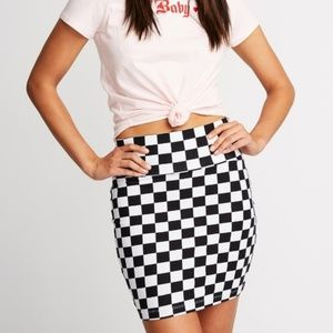 Charlotte Russe Checkered Bodycon Mini Skirt B&W
